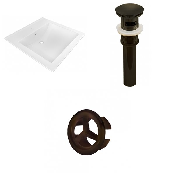 American Imaginations 21.5 x 18.5-in White Ceramic Vanity Top  Single Hole Oil Rubbed Bronze Bathroom Sink Drain Overflow Cap