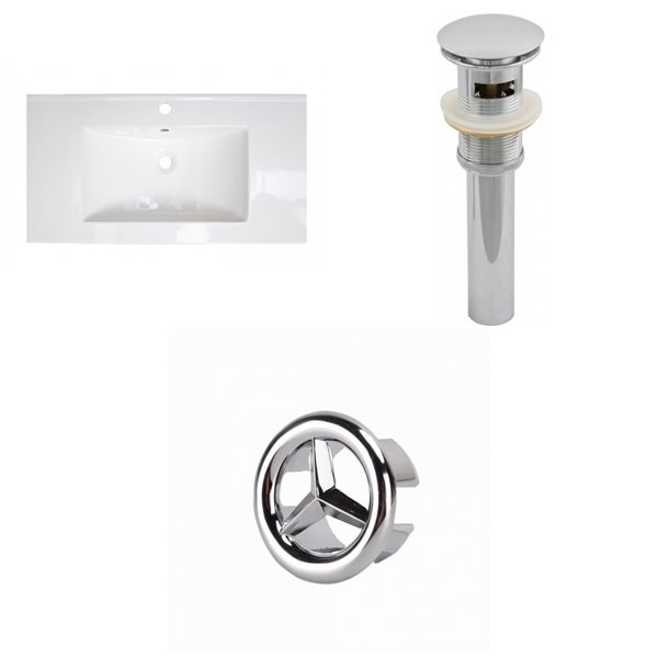 American Imaginations Flair 36.75 x 22.25-in White Ceramic Single Hole Vanity Top Set Chrome Bathroom Drain and Overflow Cap