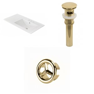 American Imaginations 35.5-in x 18.25-in White Ceramic Vanity Top Set 4-in Centreset Gold Bathroom Sink Drain Overflow Cap