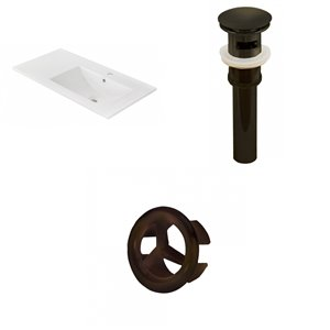 American Imaginations 35.5 x 18.25-in White Ceramic Vanity Top Single Hole Oil Rubbed Bronze Bathroom Sink Drain Overflow Cap