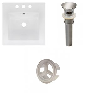 American Imaginations 16.5 x 16.5-in White Ceramic Centerset Vanity Top Set Brushed Nickel Sink Drain and Overflow Cap