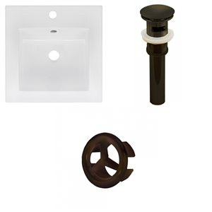 American Imaginations 16.5 x 16.5-in White Ceramic Single Hole Vanity Top Set OIl Rubbed Bronze Sink Drain and Overflow Cap