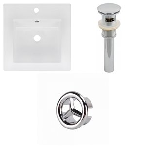 American Imaginations 16.5 x 16.5-in White Ceramic Single Hole Vanity Top Set Chrome Sink Drain and Overflow Cap
