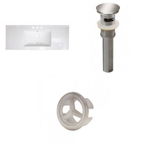 American Imaginations 39.75 x 18.25-in White Ceramic Widespread Vanity Top Set Brushed Nickel Sink Drain and Overflow Cap