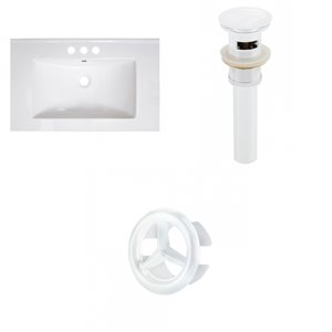 American Imaginations Vee 30-in x 18.5-in White 4-in Centreset Ceramic Top Set With White Sink Drain And Overflow Cap