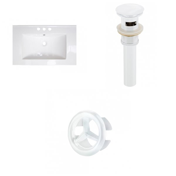 American Imaginations Vee 21-in x 18.5-in White Centreset Ceramic Top Set With White Sink Drain And Overflow Cap