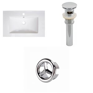 American Imaginations Vee 30-in x 18.5-in White Singlehole Ceramic Top Set With Chrome Sink Drain And Overflow Cap