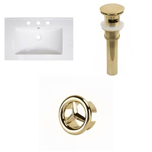 American Imaginations Vee 30-in x 18.5-in White Widespread Ceramic Top Set With Gold Sink Drain And Overflow Cap