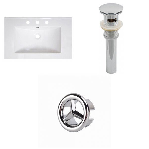 American Imaginations Vee 30 x 18.5-in White Ceramic Widespread Vanity Top Set Chrome Sink Drain and Overflow Cap