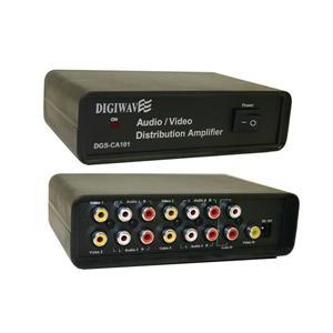 Digiwave 4 -Way Black A/V Distributor with Amplifier