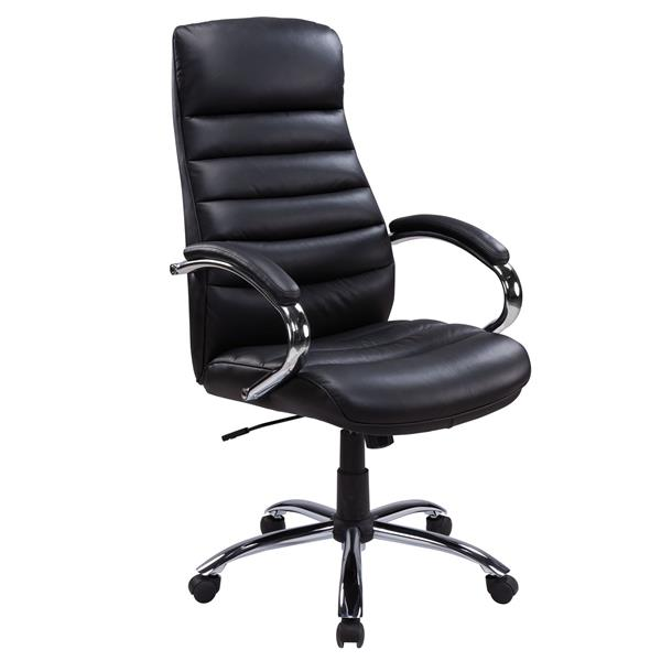TygerClaw 21.26-in x 20-in Black Faux Leather Office Chair