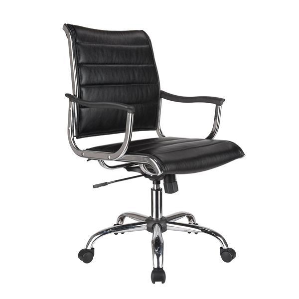 """Chaise de bureau TygerClaw, 20"""", similicuir, noir"""