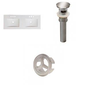 American Imaginations Xena 59-in White Ceramic Widespread Vanity Top Set Brushed Nickel Sink Drain and Overflow Cap