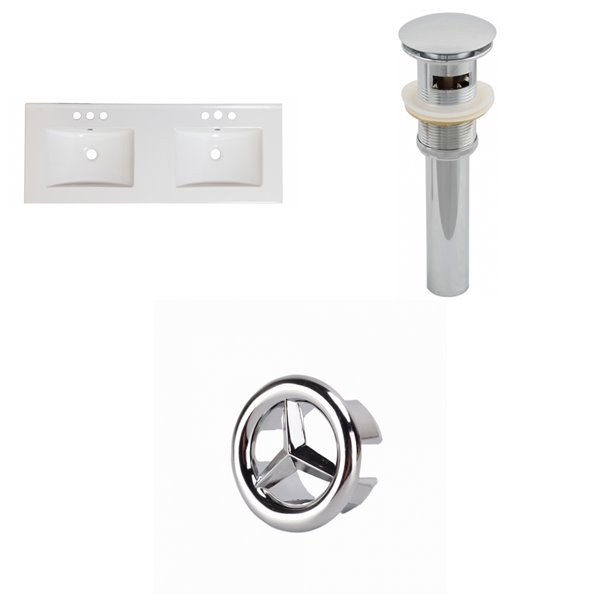 American Imaginations Xena 59-in White Ceramic 4-in Centerset Vanity Top Set Chrome Sink Drain and Overflow Cap