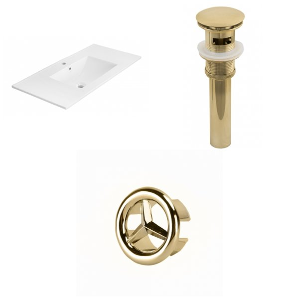 American Imaginations 35.5-in White Ceramic Single Hole Vanity Top Set Gold Sink Drain and Overflow Cap