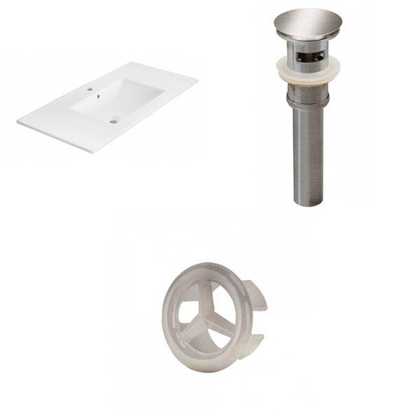 American Imaginations 35.5-in White Ceramic Single Hole Vanity Top Set Brushed Nickel Sink Drain and Overflow Cap