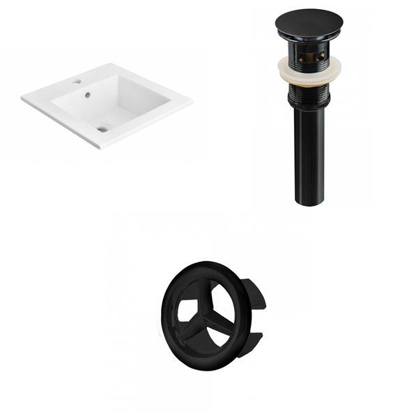 American Imaginations 21-in White Ceramic Single Hole Vanity Top Set Black Sink Drain and Overflow Cap