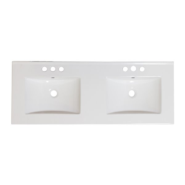 American Imaginations 48 In Dual Centreset White Ceramic Vanity Top Set With White Overflow Cap And Sink Drain Ai 21647 Rona