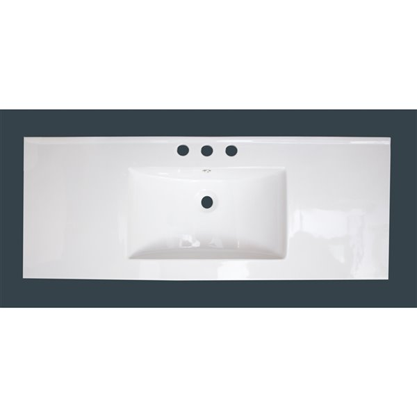 American Imaginations 48 In White Ceramic Vanity Top Set With Black Overflow Cap And Sink Drain Ai 21590 Rona