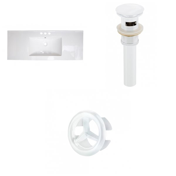 American Imaginations 48-in White Centreset Ceramic Top Set With White Overflow Cap And Sink Drain