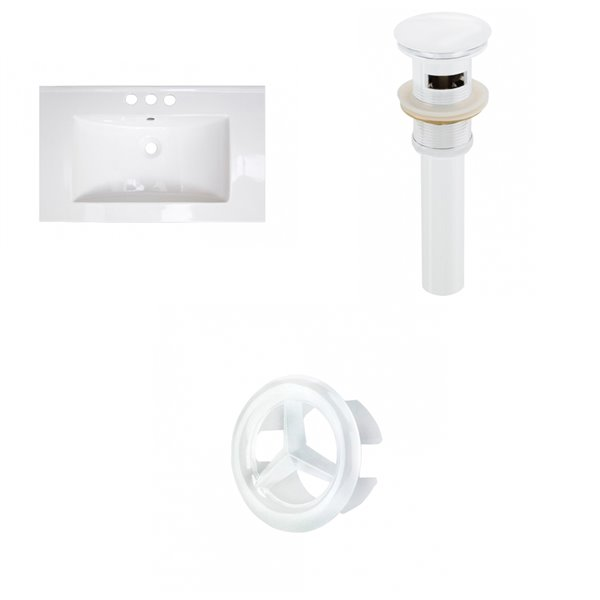 Amercan Imaginations 32-in White ceramic Top Set With White Overflow Cap and Drain
