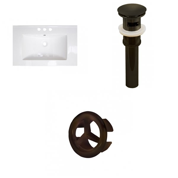 American Imaginations 24.25-in White Ceramic Single Sink Oil Rubbed Bronze Drain with Overflow Cap