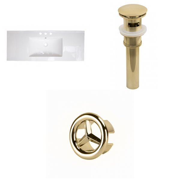American Imaginations 48-in White Widespread Ceramic Top Set With Gold Overflow Cap And Sink Drain