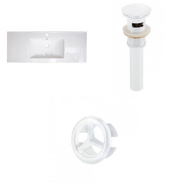 American Imaginations 48-in White Singlehole Ceramic Top Set With White Overflow Cap And Sink Drain