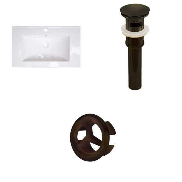 Amercan Imaginations 32-in White ceramic Top Set With Oil Rubbed Bronze Overflow Cap and Drain