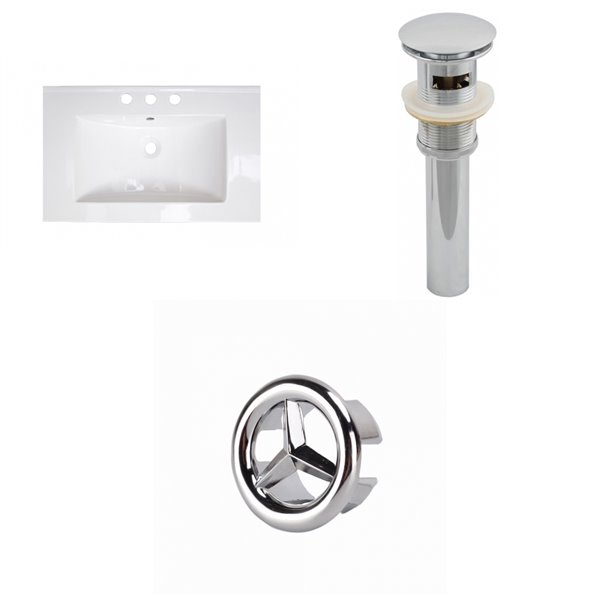 American Imaginations 23.75-in White Ceramic Centerset Vanity Top Set Chrome Sink Drain Overflow Cap