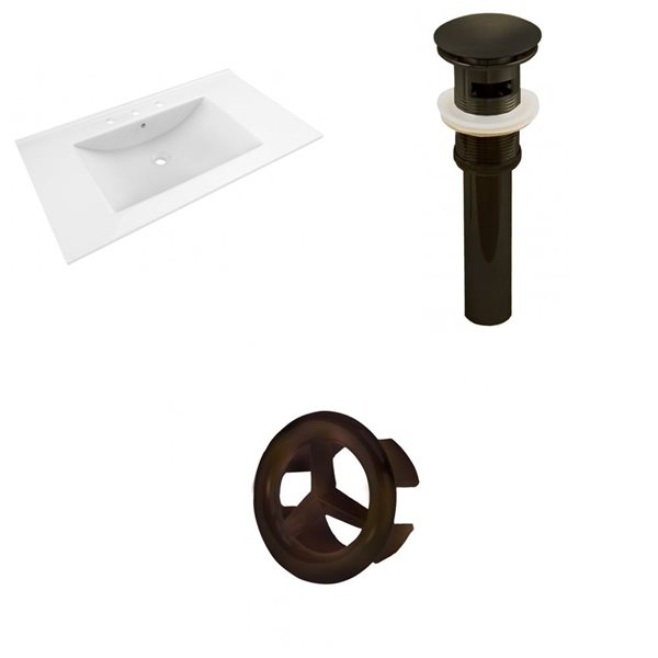 American Imaginations 35.5-in White Ceramic Widespread Vanity Top Set Oil Rubbed Bronze Sink Drain and Overflow Cap