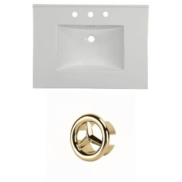 American Imaginations Flair 30.75-in White Ceramic Vanity Top Set with Gold Overflow Cap