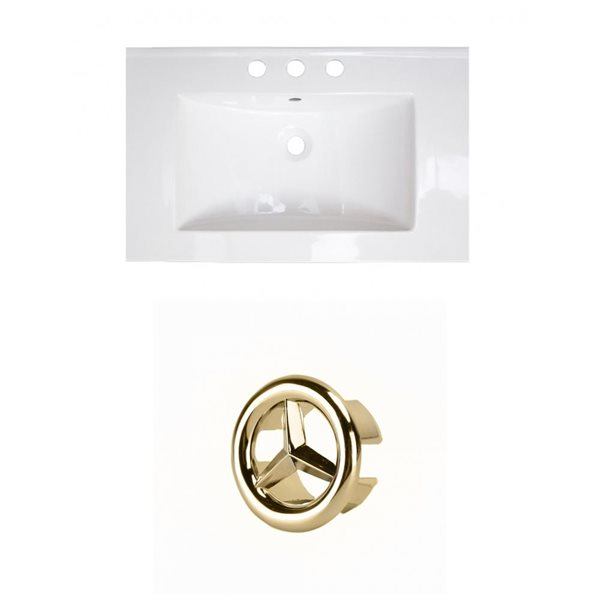 American Imaginations 24-in White Ceramic Centerset Vanity Top Set Gold Overflow Cap