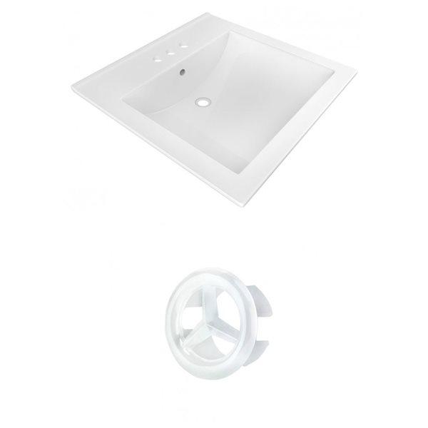 American Imaginations 21.5-in White Ceramic Vanity Top Set Centerset White Overflow Cap
