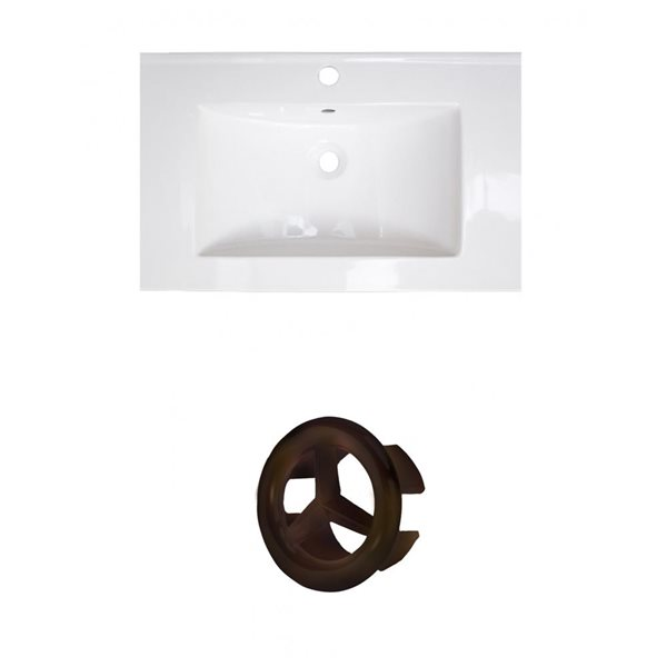 American Imaginations 24-in White Ceramic Single Hole Vanity Top Set Oil Rubbed Bronze Overflow Cap