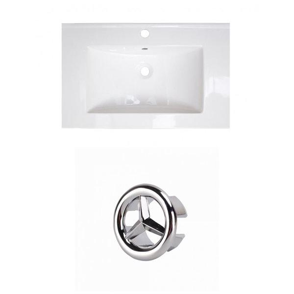 American Imaginations 24-in White Ceramic Single Hole Vanity Top Set  Chrome Overflow Cap