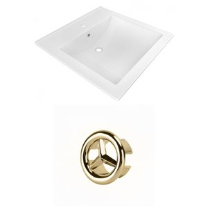 American Imaginations 21.5-in White Ceramic Vanity Top Set Single Hole Gold Overflow Cap