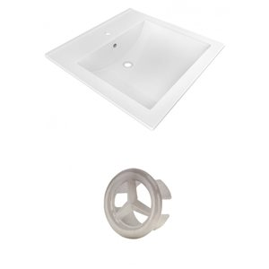 American Imaginations 21.5-in White Ceramic Vanity Top Set Single Hole Brushed Nickel Overflow Cap