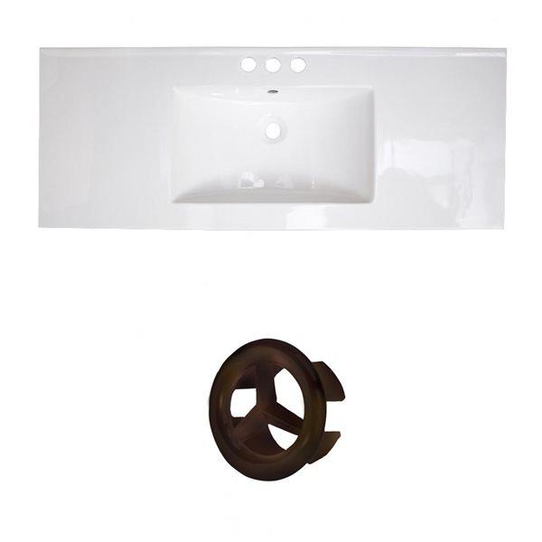 American Imaginations Flair 48.75-in White Ceramic Widespread Vanity Top Set Oil Rubbed Bronze Overflow Cap