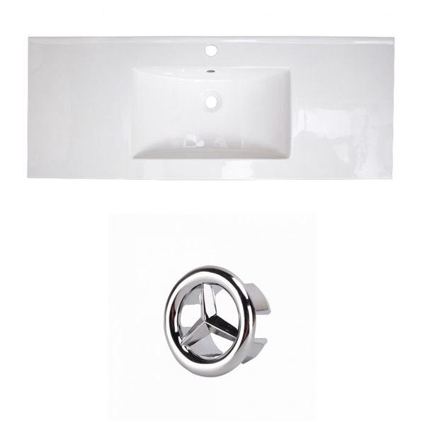 American Imaginations Flair 48.75-in White Ceramic Single Hole Vanity Top Set Chrome Overflow Cap