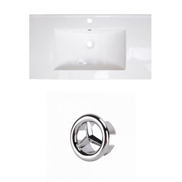 American Imaginations Flair 36.75-in White Ceramic Top Set with Chrome Overflow Cap