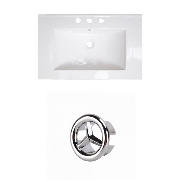 American Imaginations Flair 25-in White Ceramic Vanity Top Set with White Ceramic Vanity Top Set with Chrome Overflow Cap