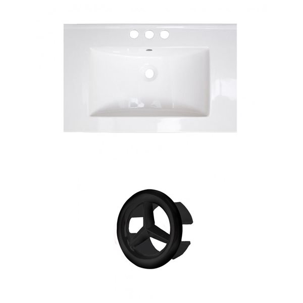 American Imaginations Flair 25-in White Ceramic Vanity Top Set with White Ceramic Vanity Top Set with Black Overflow Cap