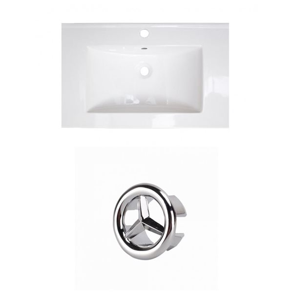 American Imaginations Flair 25-in White Ceramic Vanity Top Set with Chrome Overflow Cap Single Hole