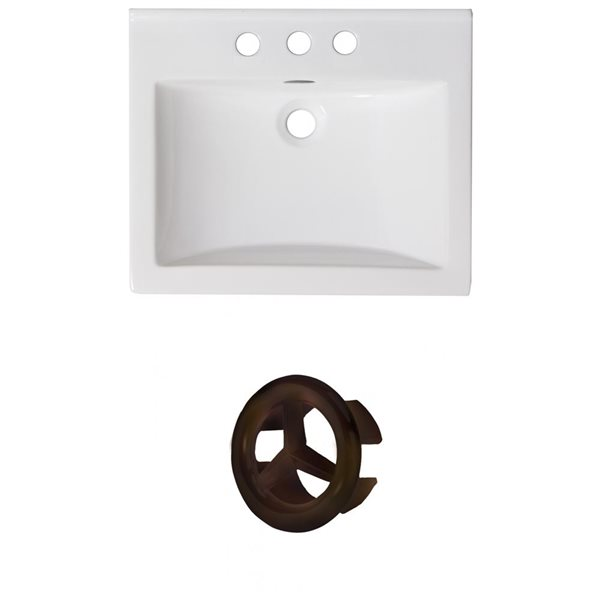 American Imaginations 21-in White Ceramic Centerset Vanity Top Set Oil Rubbed Bronze Overflow Cap
