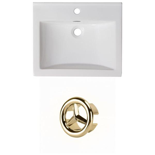 American Imaginations 21-in White Ceramic Single Hole Vanity Top Set Gold Overflow Cap