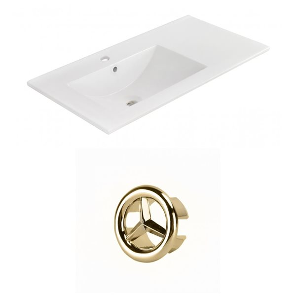 American Imaginations 35.5-in White Ceramic Single Hole Vanity Top Set Gold Overflow Cap