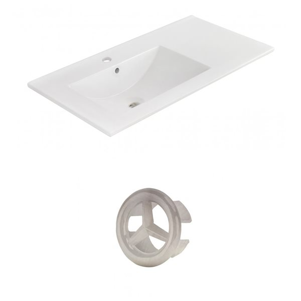 American Imaginations 35.5-in White Ceramic Single Hole Vanity Top Set Brushed Nickel Overflow Cap