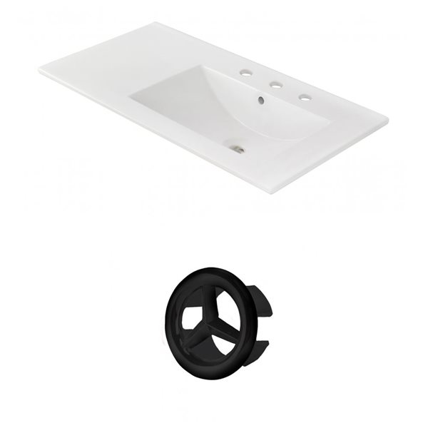 American Imaginations 35.5-in White Ceramic Centerset  Vanity Top Set Black Overflow Cap