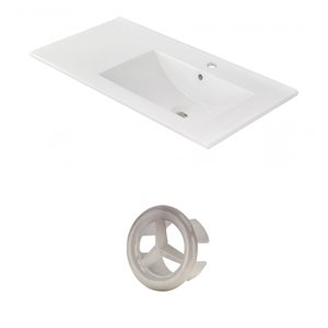 American Imaginations 35.5-in White Ceramic Single Hole  Vanity Top Set Brushed Nickel Overflow Cap
